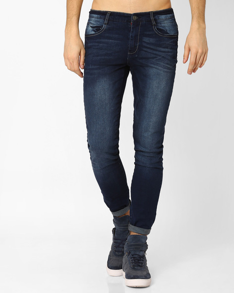 Stone-Washed Slim Fit Jeans By DNM X ( Darkblue )