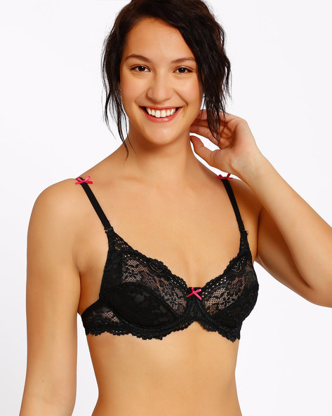 Non-Padded Lace Bra By Enamor ( Black )