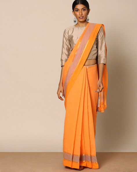 South Cotton Striped Saree With Zari  Border By Indie Picks ( Rust )