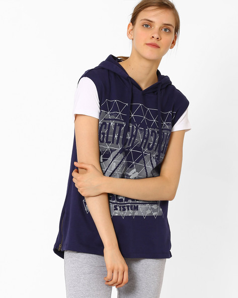 Sleeveless Hooded Sweatshirt By TEAM SPIRIT ( Navy )