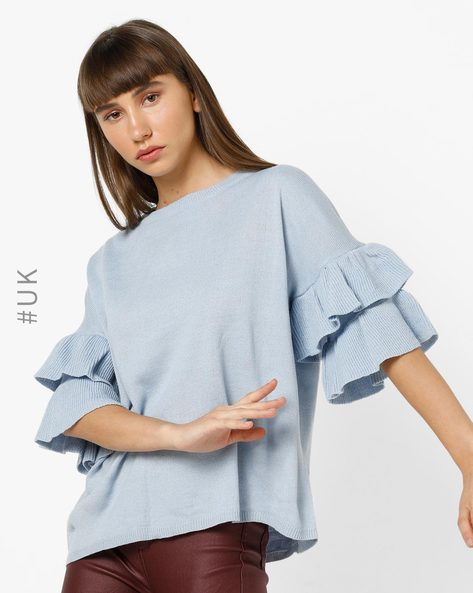 Knitted Top With Tiered Ruffle Sleeves By BRAVE SOUL ( Skyblue )