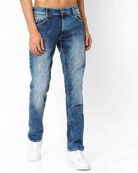 Heavily Washed Distressed Slim Fit Jeans By JOHN PLAYERS ( Indigo )
