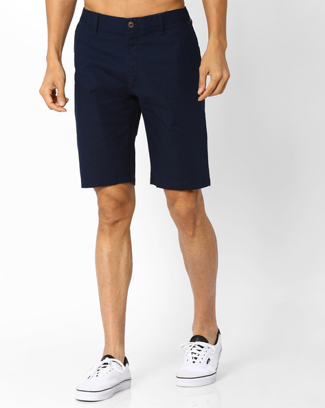 Slim Fit Flat-Front Shorts By INDIAN TERRAIN ( Navyblue )