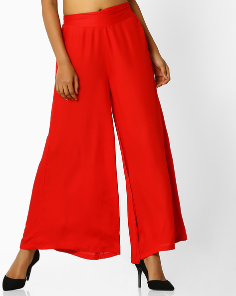 Flared Cotton Palazzos By Desi Weaves ( Red )