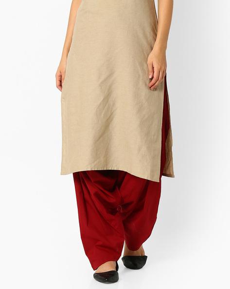Cotton Patiala Pants By Stylenmart ( Maroon )