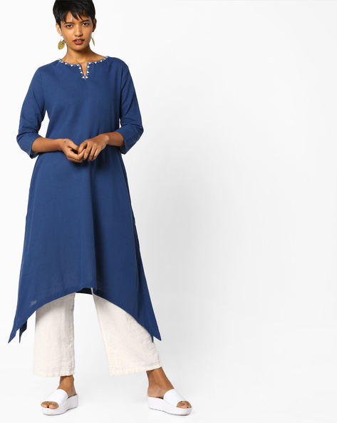 Straight Kurta With Dipped Hemline By PE IW Evening ( Blue )
