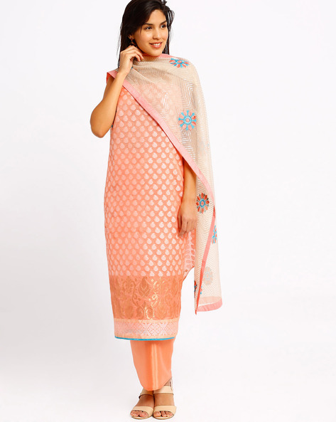 Embroidered Dress Material By Viva N Diva ( Peach )