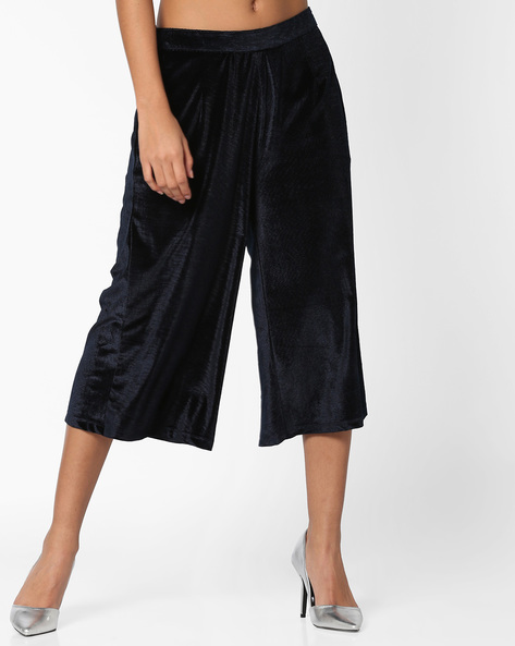 Velvet Culottes With Zipper By AJIO ( Navyblue )