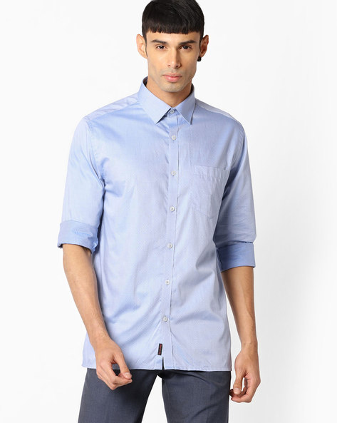 Regular Fit Shirt With Patch Pocket By VIMAL APPARELS ( Blue ) - 438042941001