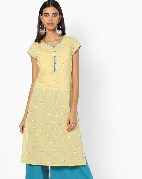 Printed Kurta With Contrast Button Placket By AJIO ( Olive )