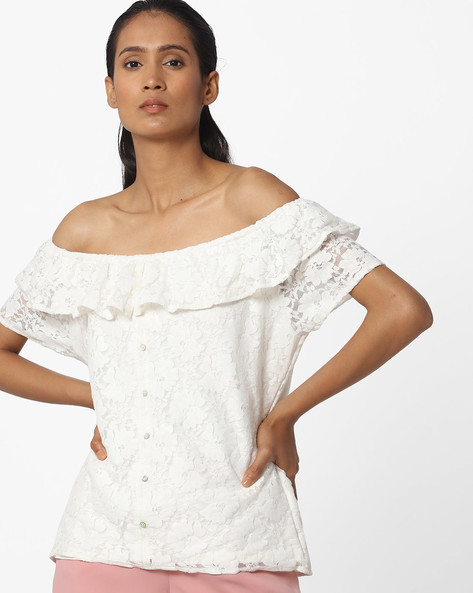 Off-Shoulder Floral Lace Top By KRAUS ( Offwhite )