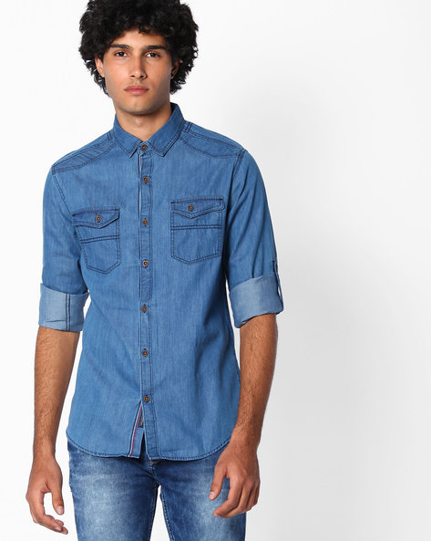 Denim Slim Fit Shirt By The Indian Garage Co ( Blue )