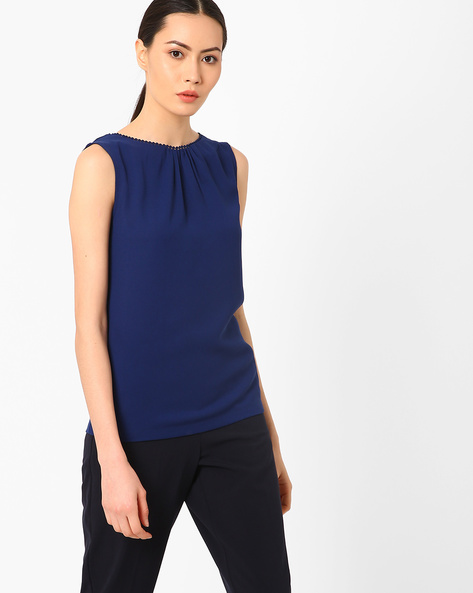 Sleeveless Top With Back Tie-Up By AJIO ( Navyblue )