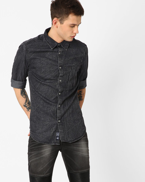 Stone Washed Smart Fit Cotton Shirt By Blue Saint ( Black )