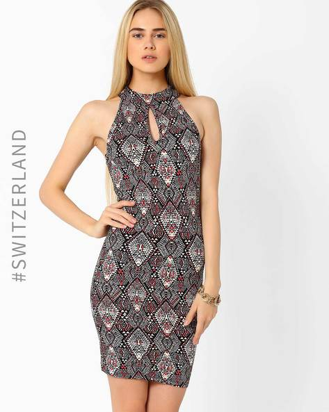 Printed Bodycon Dress With Cutaway Shoulders By TALLY WEiJL ( Multi )