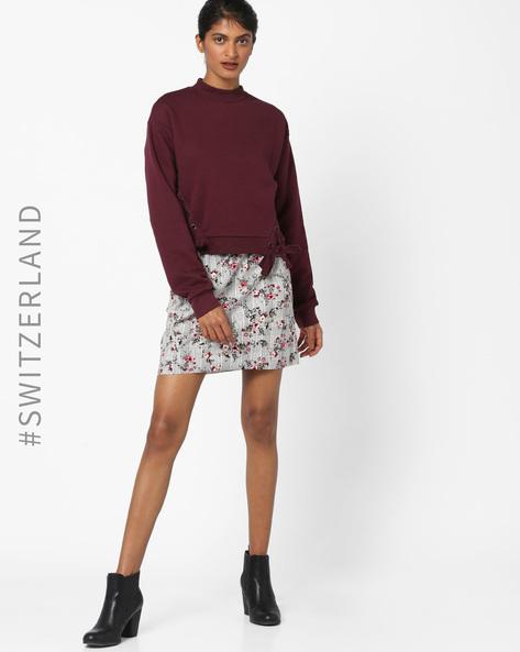 Sweatshirt With Side Tie-Ups By TALLY WEiJL ( Purple )