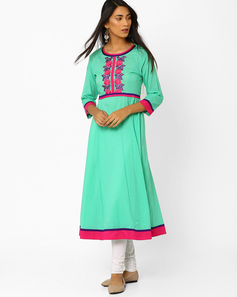 Flared Kurta With Embroidered Yoke By AJIO ( Blue )