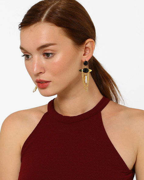 Hammered Pearl & Onyx  Drop-Earrings By AJIO ( Black )