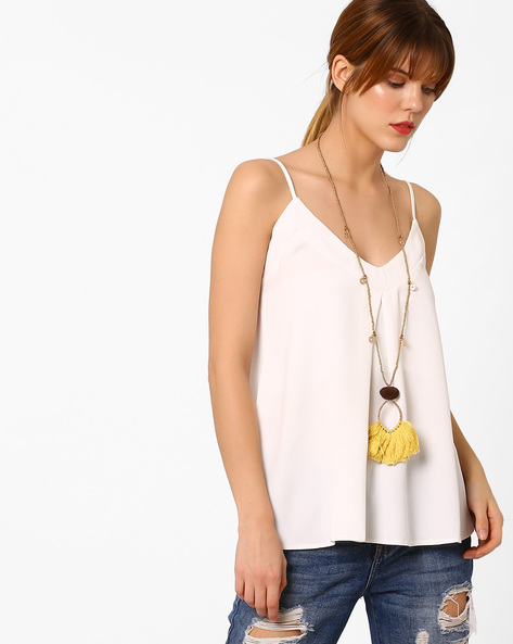 Beaded Long Necklace With Tassels By BLUEBERRY ( Yellow )