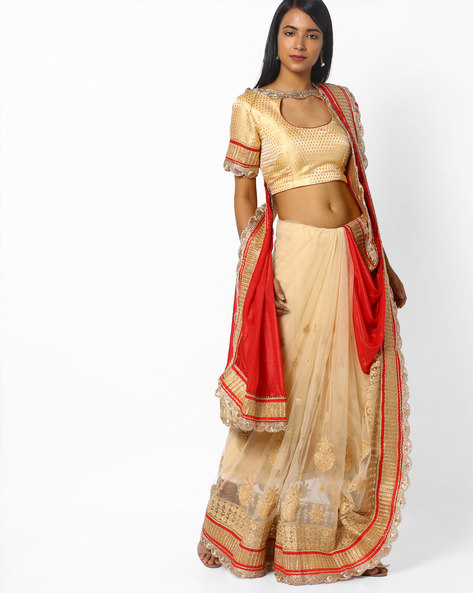 Embroidered Half-and-Half Saree With Scalloped Border By CHHABRA 555 ( Offwhite )
