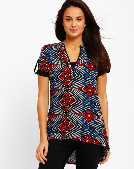 Printed High-Low Top By Style Quotient By Noi ( Multi )