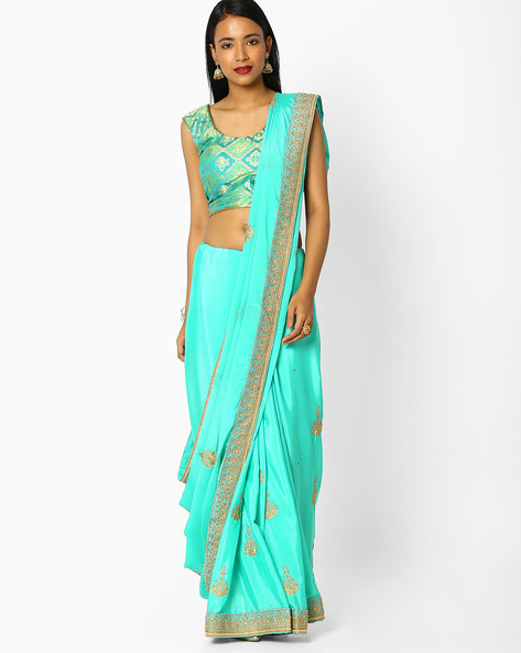 Embroidered Saree With Embellishments By Majestic Silk ( Green )