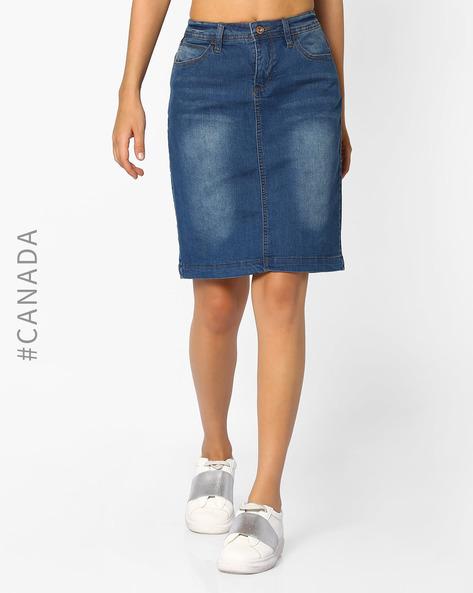 Denim Pencil Skirt By Point Zero ( Blue )