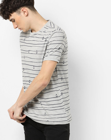 Striped T-shirt With Anchor Print By AJIO ( Lightgreymelange )