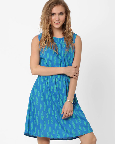 Feather Print Fit & Flare Dress By AJIO ( Navyblue )