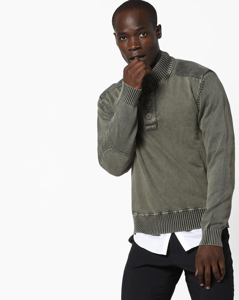 Regular Fit Pullover With Ribbed Hems By AJIO ( Olive )