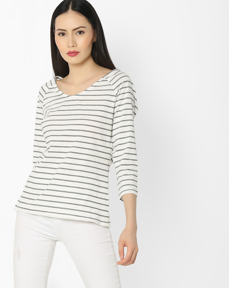 Striped T-shirt With Raglan Sleeves By FIG ( White )
