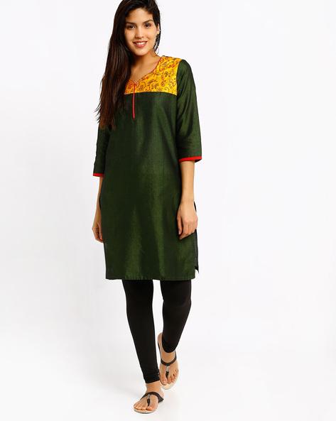 Kurta With Printed Yoke By Rangmanch By Pantaloons ( Green )