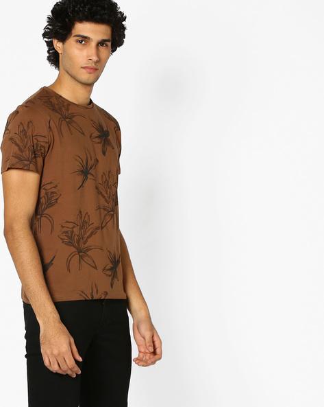 Floral Print Slim T-shirt By AJIO ( Brown )