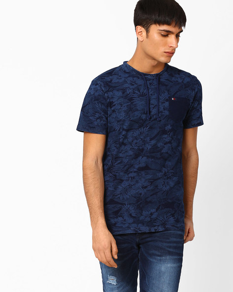 Slim Fit Cotton T-shirt With Self-Design By DNM X ( Mediumblue )