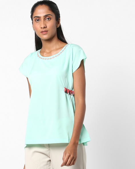 Boxy Top With Printed Side Panels By Indusdiva ( Green )