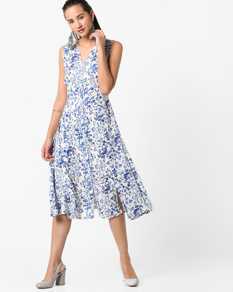 Floral Print A-line Dress With Front-Slit Hem By AJIO ( White )