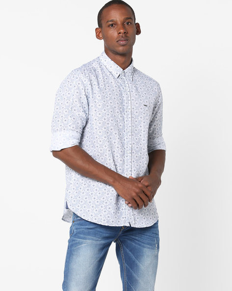 All-Over Floral Print Shirt By BASICS ( White )