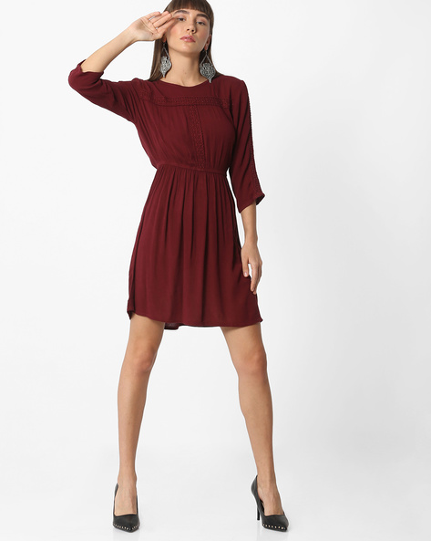 Dress With Lace Insets By Oxolloxo ( Wine )