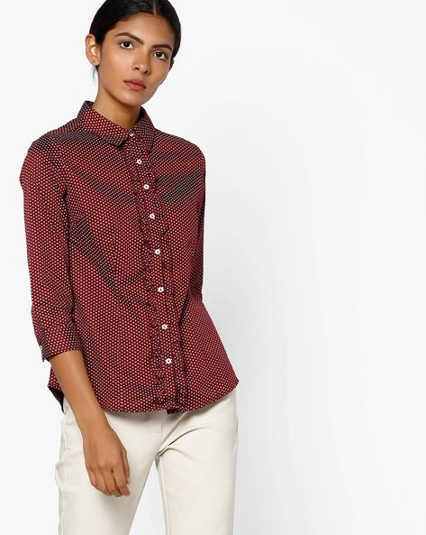 Printed Shirt With Spread Collar By FIG ( Maroonburg )