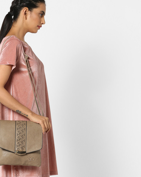 Sling Bag With Laser Cut-Outs By E2O ( Grey )