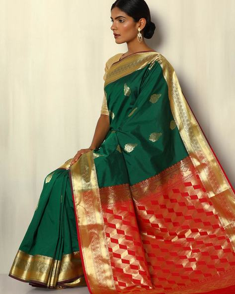 Mina Border South Silk Saree With Contrast Pallu By Pretty Woman ( Green )