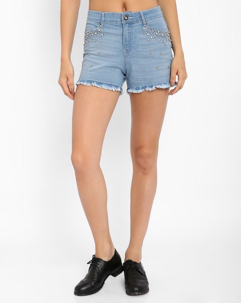 Embellished Denim Shorts By AJIO ( Lightblue )