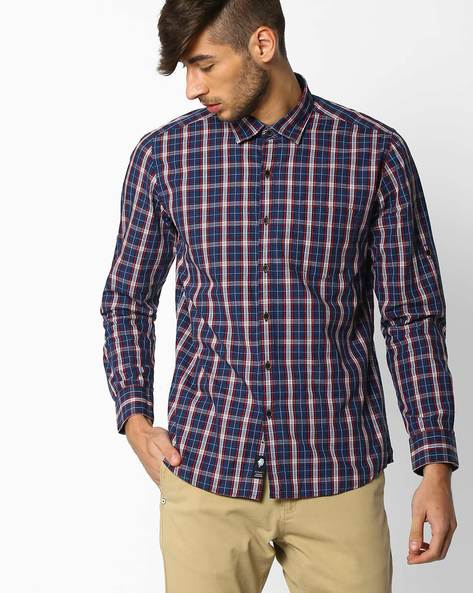 Regular Fit Checked Shirt By NETPLAY ( Navy ) - 440690751126