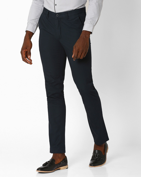 Slim Fit Formal Trousers By JOHN PLAYERS ( Blue )