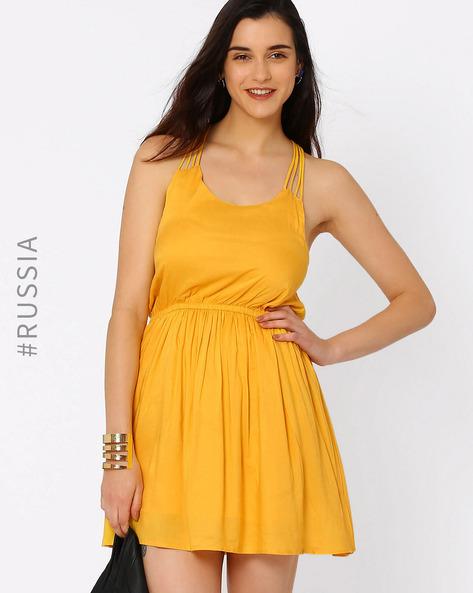 Fit & Flare Dress With Stappy Raceback By Kira Plastinina ( Yellow )