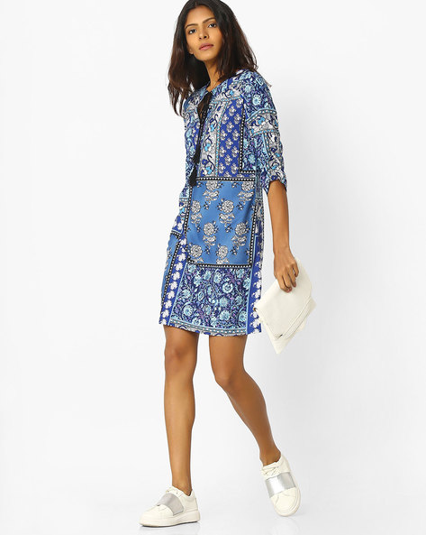 Floral Print Shirt Dress With Tie-Up By Sassafras ( Blue )