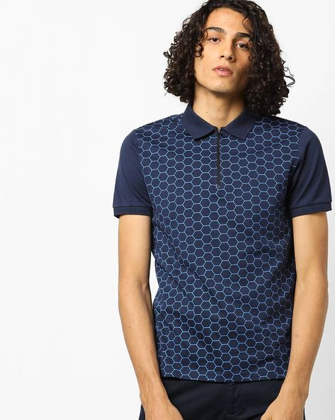 Printed Polo T-shirt With Zip Placket By AJIO ( Blue )