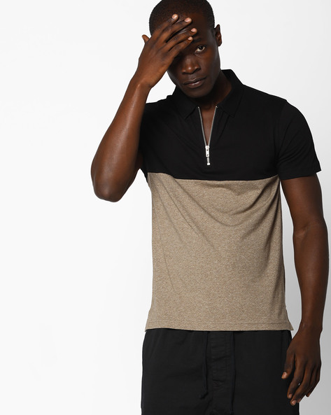 Colourblock Polo T-shirt With Zip Placket By AJIO ( Black )