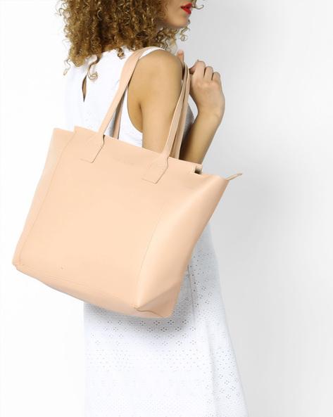 Tote Bag With Short Handles By FUR JADEN ( Cream )