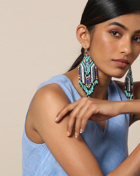 Statement Beaded Dangler Earrings By Indie Picks ( Multicolour ) - 460167631001
